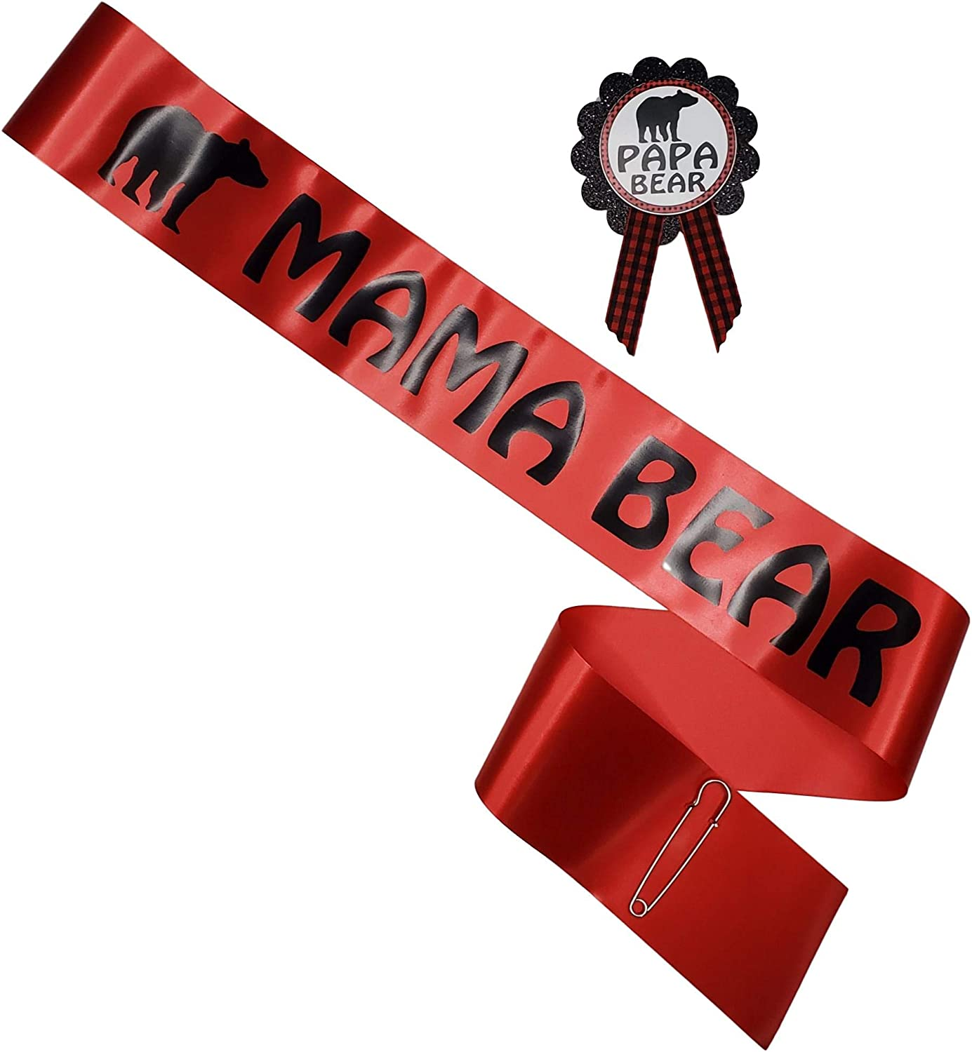 Mama Bear Baby Shower Sash & Pin for Mom and Daddy to Be Red & Black with Rhinestone Pin Buffalo Plaid Woodland