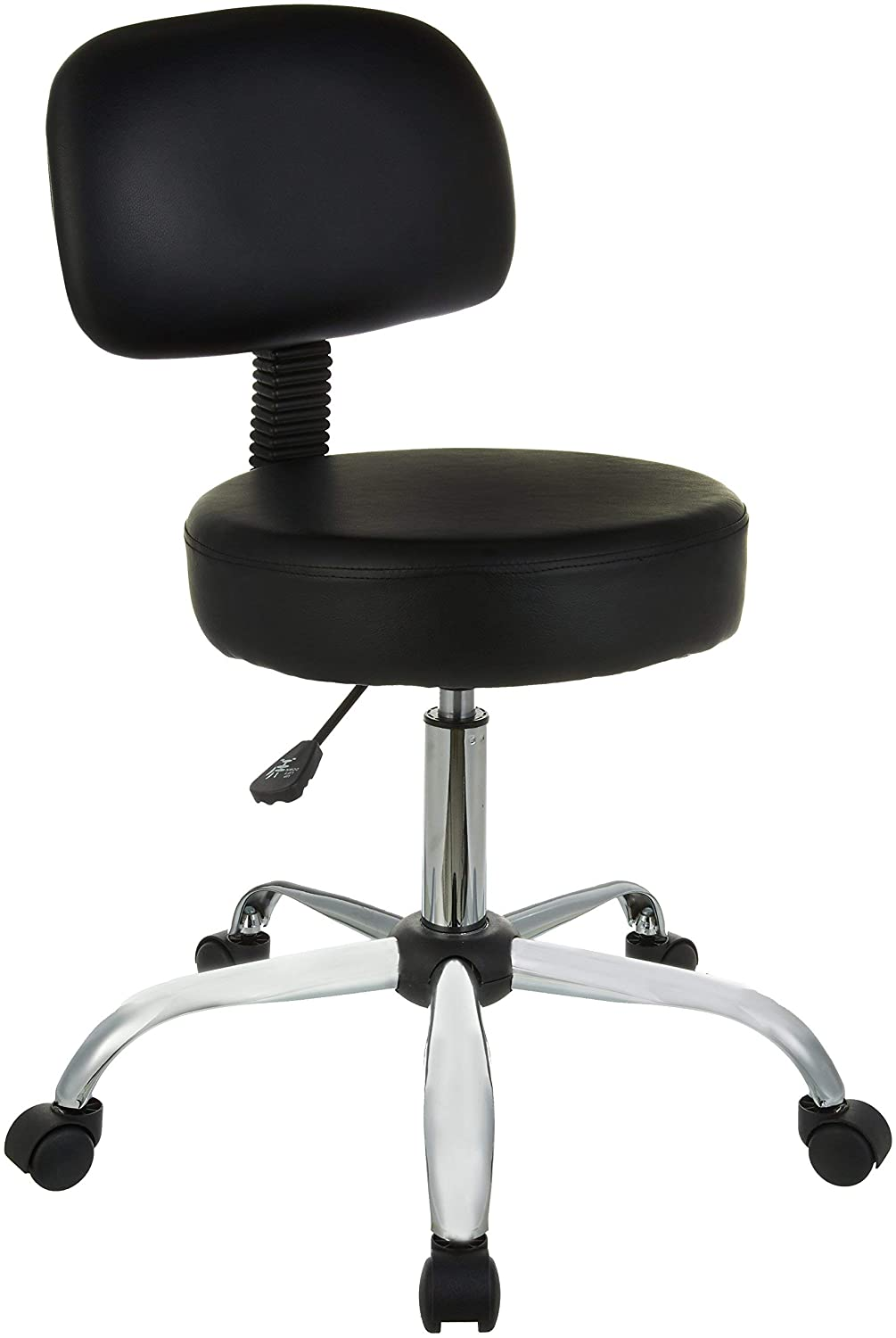AmazonBasics Multi-Purpose Drafting Spa Bar Stool with Back Cushion and Wheels - Black