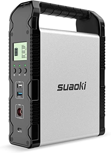 SUAOKI 200Wh Solar Power Station, S200 Portable Generator Lithium Battery Backup Pack with 120W Pure Sine Wave AC Outlet, 120W DC, Quick Charge 3.0, 45W Power Delivery USB C for Fishing Camping