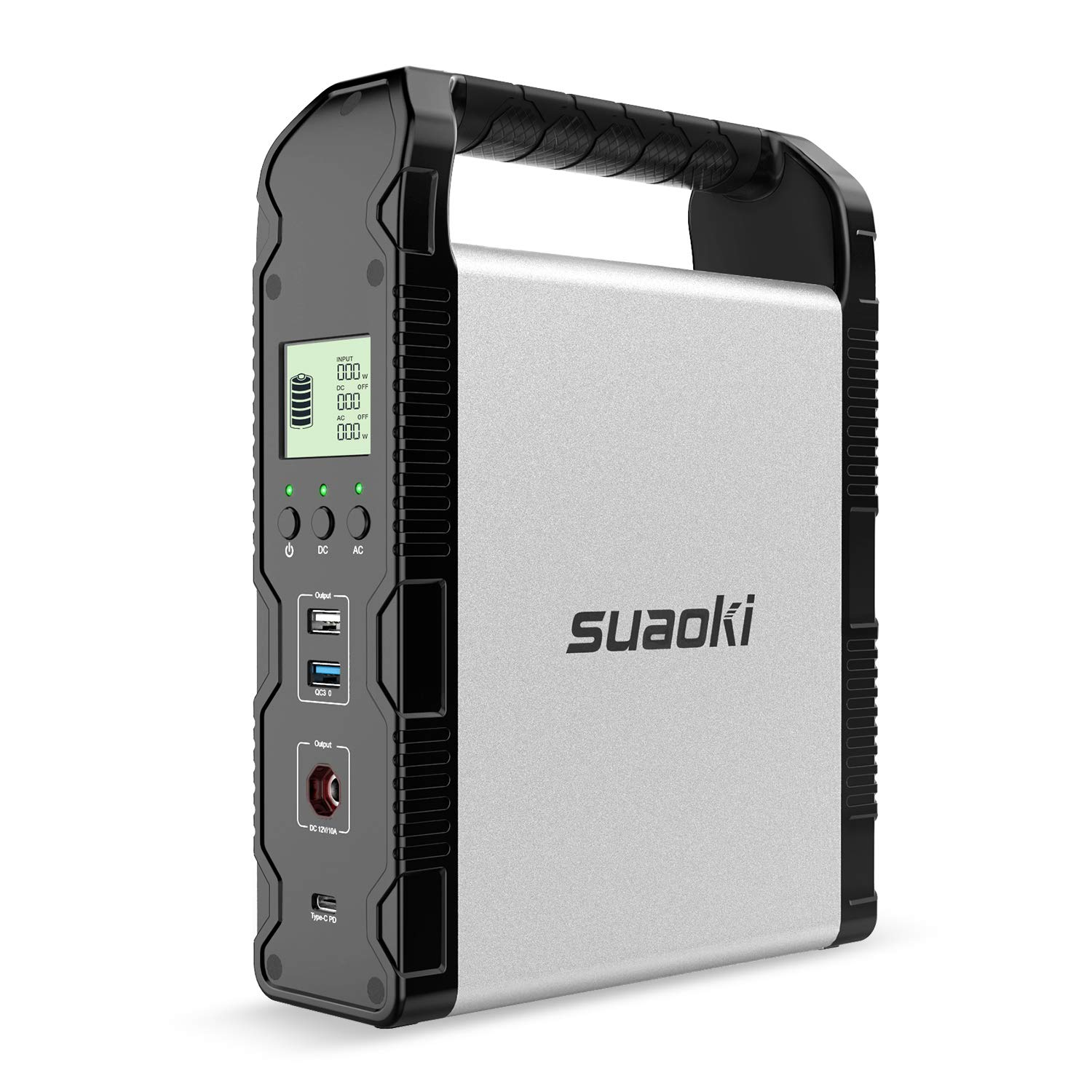 SUAOKI 200Wh Solar Power Station, S200 Portable Generator Lithium Battery Backup Pack with 120W Pure Sine Wave AC Outlet, 120W DC, Quick Charge 3.0, 45W Power Delivery USB C for Fishing Camping CPAP by SUAOKI