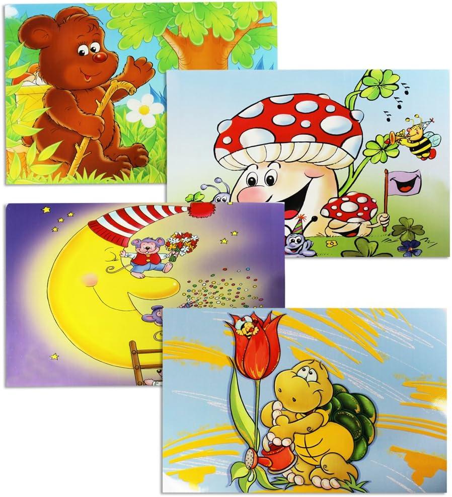 COM-FOUR® 4x Manteles individuales de vinilo para niños - Manteles coloridos con motivos de ratón, tortuga de hongo oso (04 piezas - 43.5x28.3cm motivos infantiles 5)