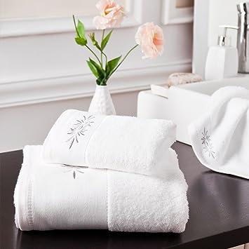 Juego de toallas de baño de color blanco toalla de mano toalla de baño toalla de bordado, toalla de baño Decor, color sólido, 2 unidades: Amazon.es: Hogar