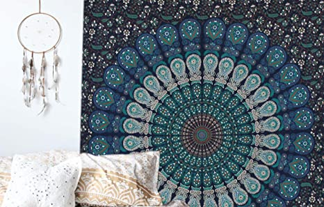 Indian Mandala Cotton Handmade Wall Hanging Hippie Bedspread Home Decor Tapestry