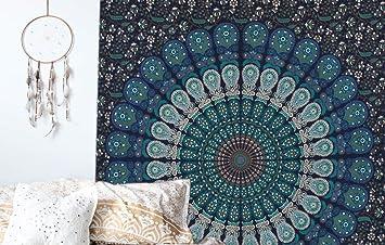 Arazzo Da Muro Mandala Matrimoniale Tema Colore Blu Trama Pavone