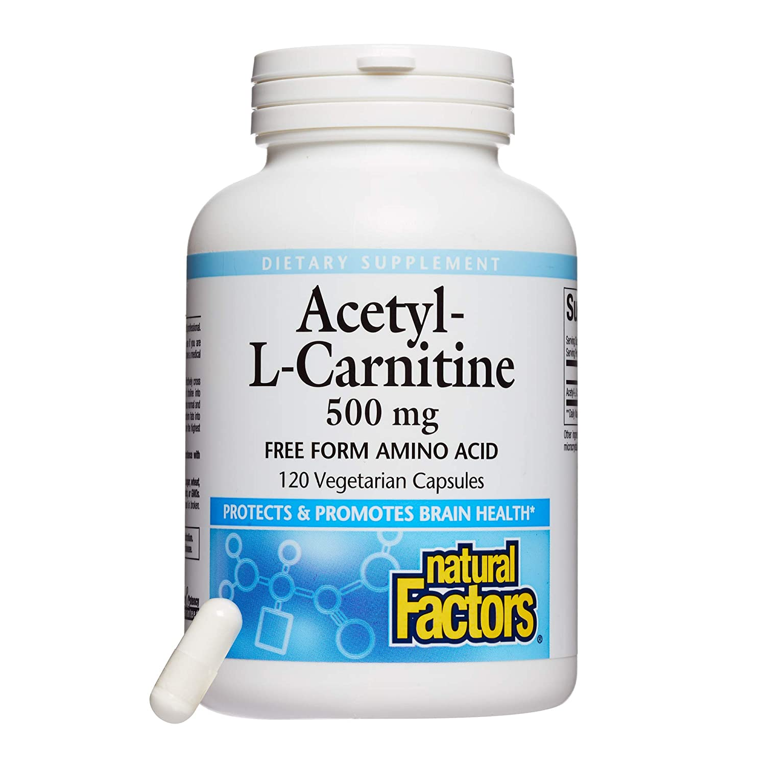 Natural Factors, Acetyl L-Carnitine 500 mg, Promotes a Healthy Memory, Concentration and Brain Function, 120 capsules 60 servings