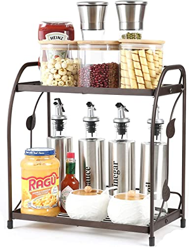 Spice Rack Organizer for Cabinet Countertop Organization and Storage,2 Tier Can Removable Assembly Standing Bathroom Kitchen Spice Organizer Racks for Spice Can Bottle,Jam jars Body Wash Cosmetic