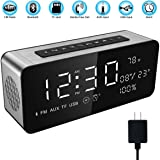 """Soundance 12W Wireless Radio Alarm Clock Bluetooth Speaker with HD Sound Digital 9.4"""" LED Display of Time/Date/Temperature, iPhone Android Aux MicroSD USB Support, Model A10 Sliver with Wall Charger"""