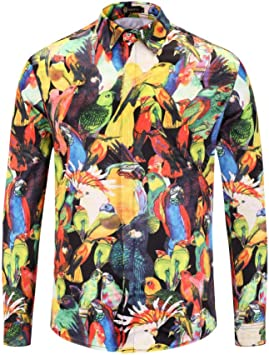 CHENS Camisa/Camisetas/Casual/Camisa de Primavera de los Hombres de Alta Gama de impresión de Tendencia Suelta Estampado de Aves de satén Camisa de Manga Larga: Amazon.es: Deportes y aire libre