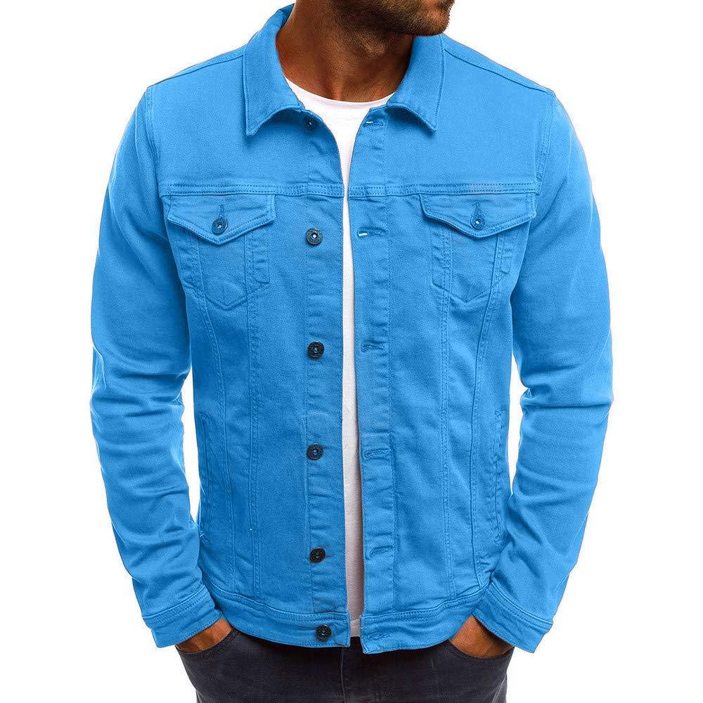 PASATO Men's Autumn Winter Button Solid Color Vintage Denim Jacket Tops Blouse Coat Top Cardigan Outwear(Blue, 3XL)
