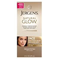 Jergens Natural Glow Oil-free SPF 20 Face Moisturizer, Self Tanner, Medium to Tan Skin Tone Sunless Tanning, 2 Ounce Daily Facial Sunscreen, Featuring Broad Spectrum Protection Across UVA and UVB