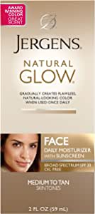 Jergens Natural Glow Face Daily Moisturizer Sunscreen SPF 20, Medium to Tan Skin Tones, 2 Ounce