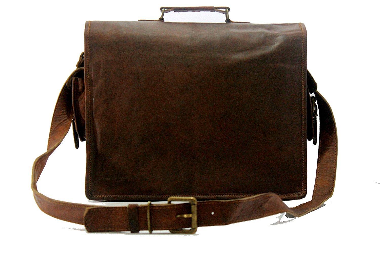 Handmade World Genuine Messenger Bag Leather Laptop Bags Computer Satchel Briefcase (18 Inch) by Handmade World (Image #6)