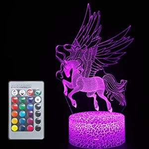 Unicorn Sleep Light Gifts Optical Illusion 3D LED Desk Table Lamp Toys Remote Control Wall Night Lights for Babe Girls Teen Adults Holiday Festvial Giftideas Home House Decorations(Unicorn M(Remote))