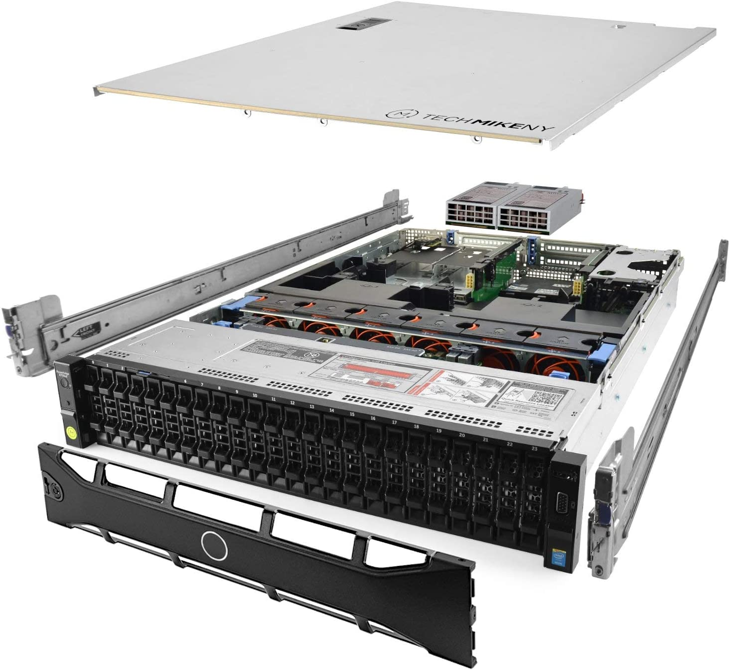 TechMikeNY Server 2.60Ghz 24-Core 512GB 26x 900GB H730P Bezel Rails PowerEdge R730xd (Renewed)