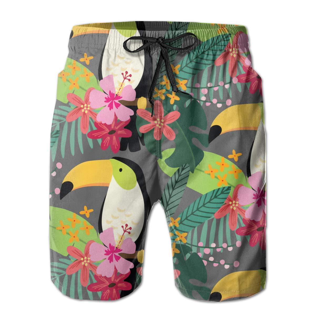 SARA NELL Mens Swim Trunks Tropical Jungle with Toucan Bird Surfing Beach Board Shorts Swimwear