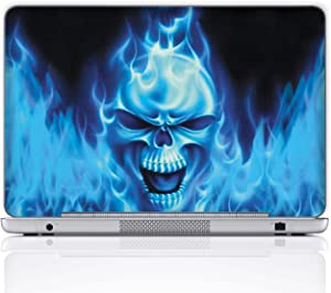 Meffort Inc 15 15.6 Inch Laptop Notebook Skin Sticker Cover Art Decal (Free Wrist pad) - Blue Flaming Skull