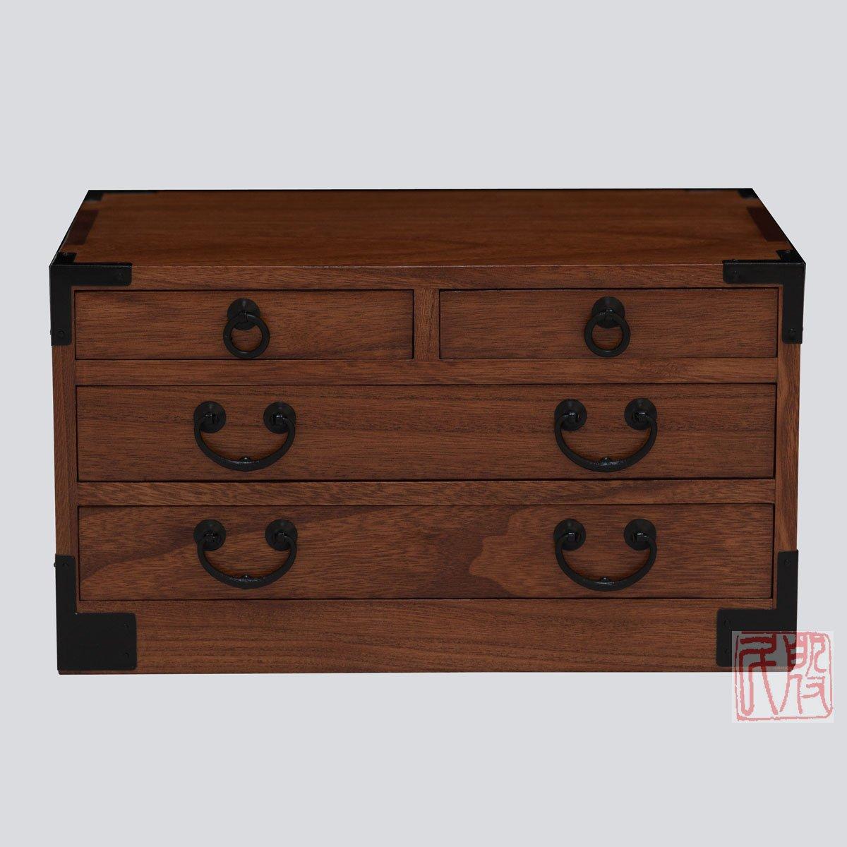 Japanese tansu style jewelry box KB27T, 4 drawers box, solid kiri wood