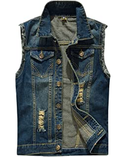 62ab50de740 ShiFan Men s Slim Retro Ripped Demin Jeans Gilets Jacket Vest Waistcoat Top  Vest