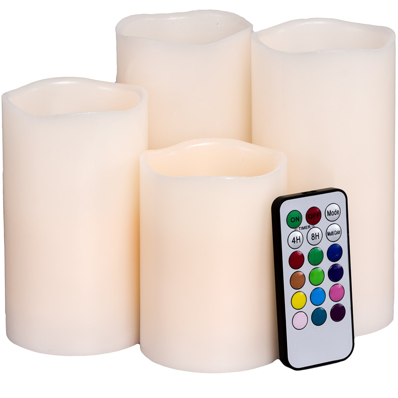 GreenLighting Flameless Candle Set - Color Changing LED Wax Candles w/ Remote