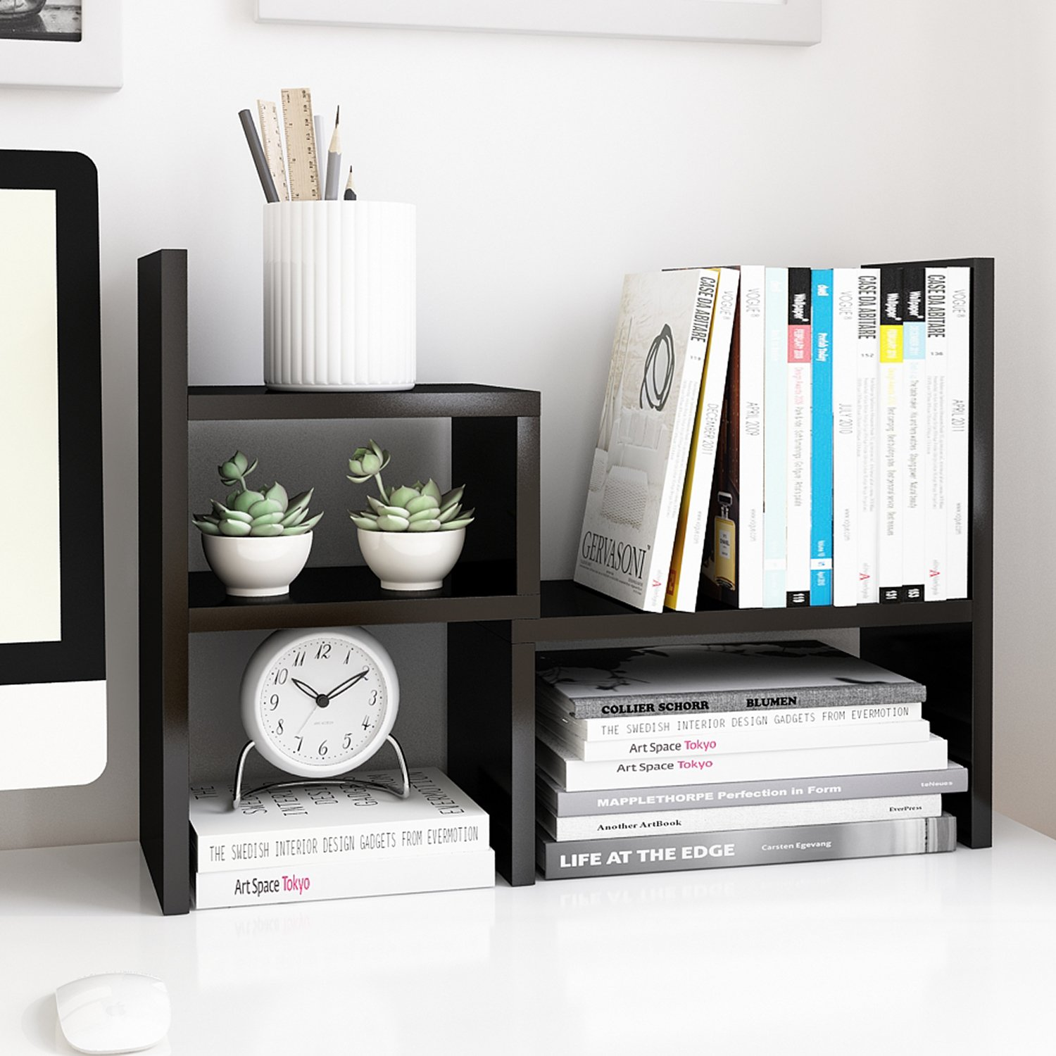 Jerry & Maggie - Desktop Organizer Office Storage Rack Adjustable Wood Display Shelf | Birthday Gifts - Toy - Home Decor | - Free Style Rotation Display - True Natural Stand Shelf Black by Jerry & Maggie