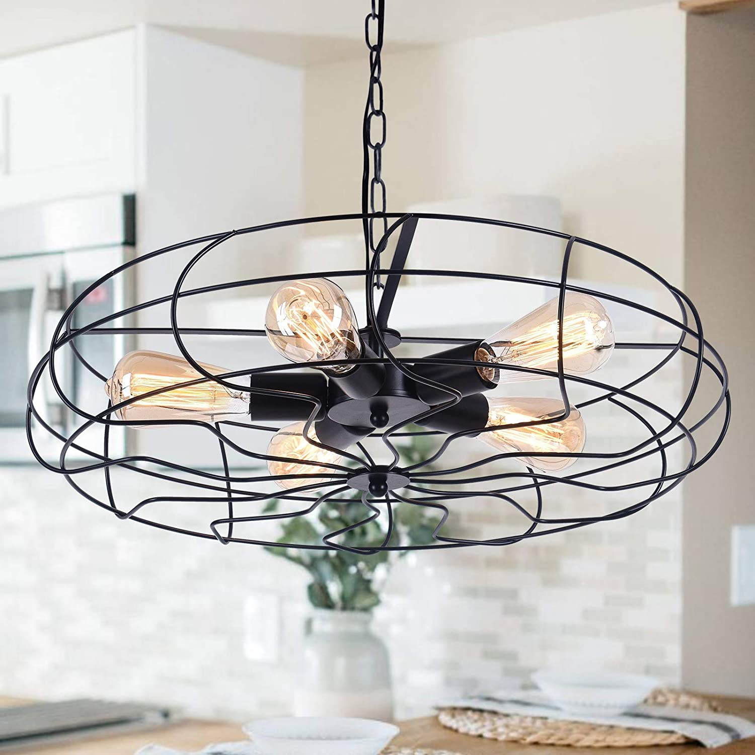 OYIPRO Rustic Chandeliers Farmhouse Industrial Hanging Pendant Light, 5 Light Oil Rubbed Bronze Vintage Retro Lights Fixtures Fan Metal Cage Style Ceiling Lighting, Black