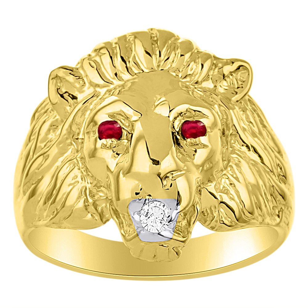 Lion Head Ring set with Genuine Diamond in mouth /& Natural Rubies in eyes Yellow Gold Plated over Silver .925