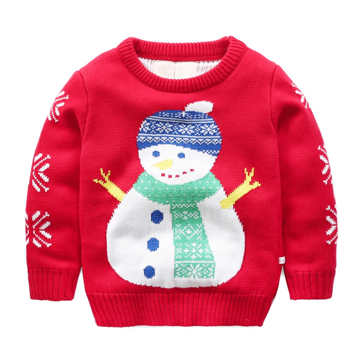 Baby Boys Girls Toddler Long Sleeve Christmas Snowman Pullover Sweater Sweatshirt CSNPQW120