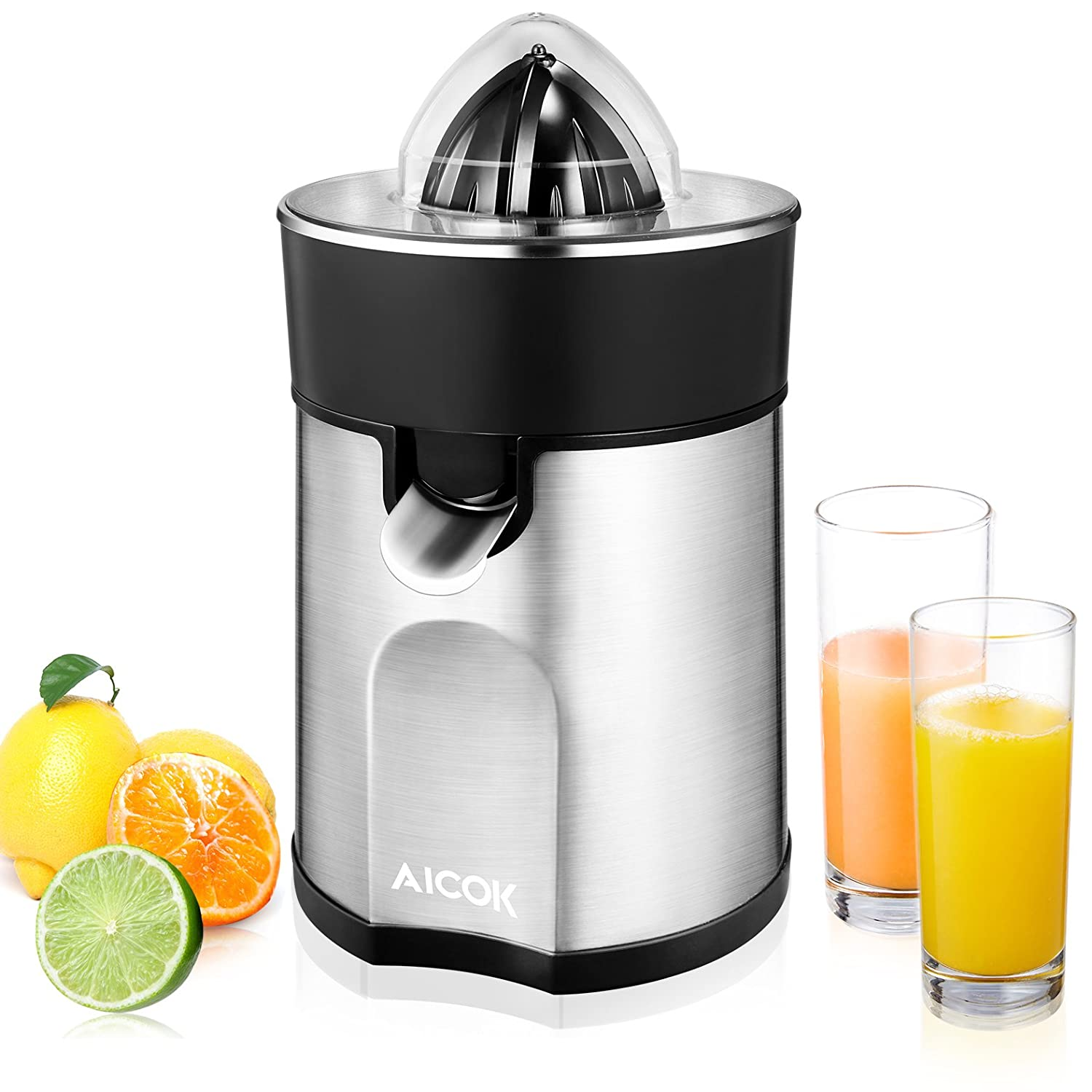 Juicer Aicok Citrus Juicer Electric Citrus Fruit Juicer with 2 Sized Juicing Cones Direct Anti-Drip System, 85W, Steel Filter for Orange Juice, Kiwi, Silver Stainless Steel Body