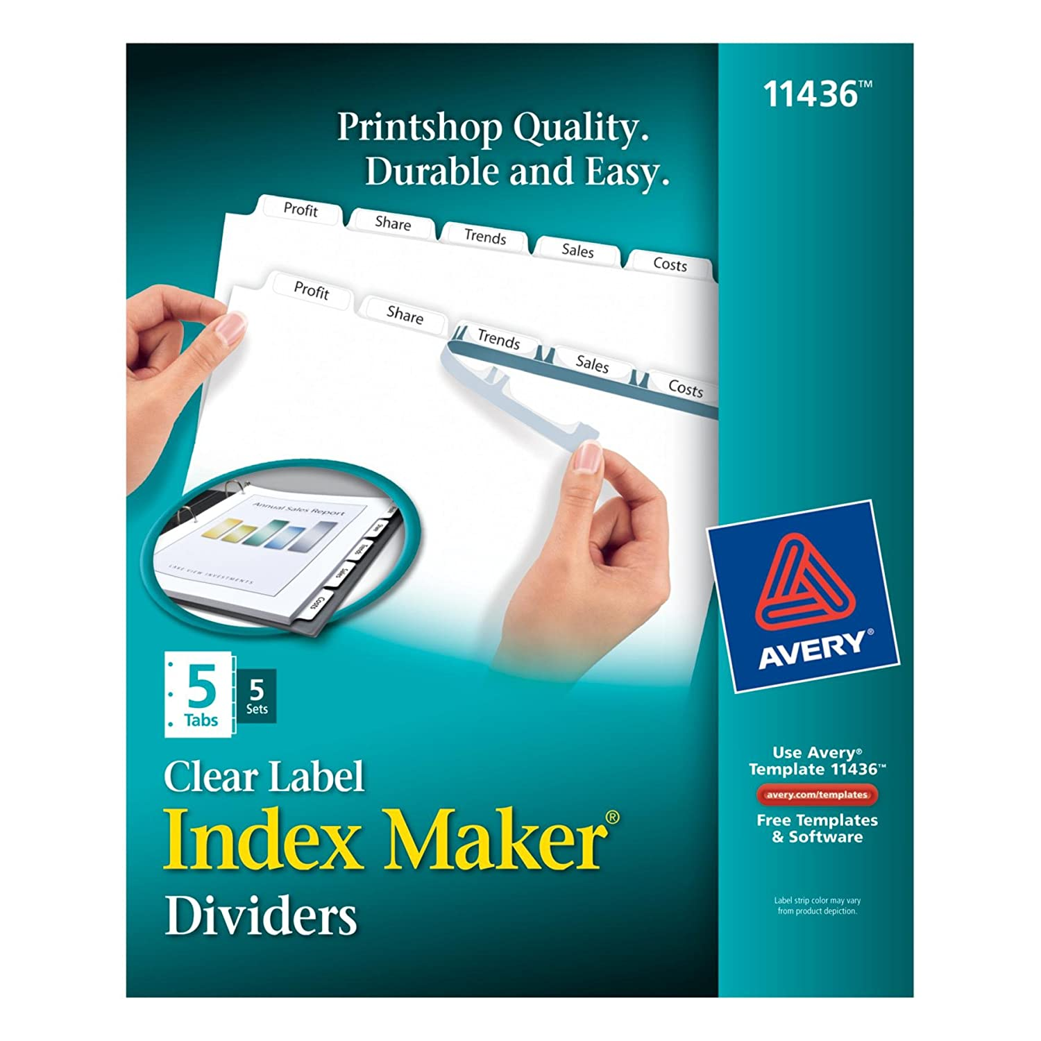 Color printing label maker - Amazon Com Avery Index Maker Clear Label Dividers With Easy Apply Label Strip White Tabs 5 Tabs Per Set 5 Sets Per Pack 11436 Binder Index Dividers