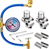 3 Pieces BPV31 Bullet Piercing Tap Valve Kits U-Charging Hose Refrigerant Can Tap with Gauge R134a Can to R12/R22 Port…