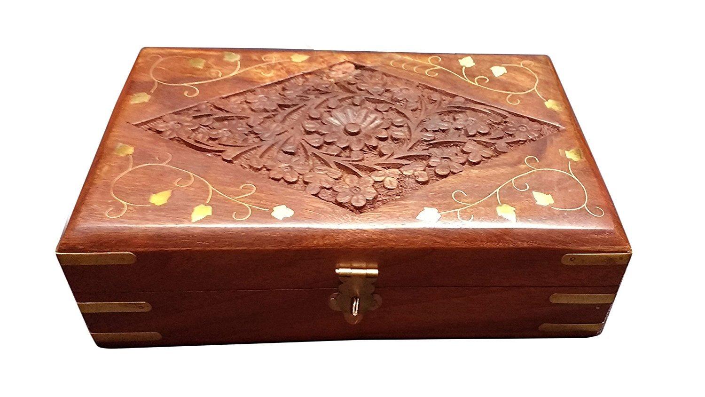 PMK Contenitore di monili di Legno per Le Donne orecchino, Pizzo Collo, Scatola Decorativa di immagazzinaggio dell'organizzatore dell'oro per la Scatola d'Annata delle Belle Ragazze