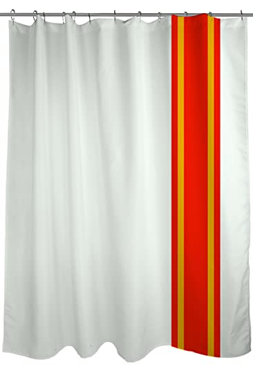 Auto Racing Stripes Shower Curtain Fabric Size 71 X 74 White Red