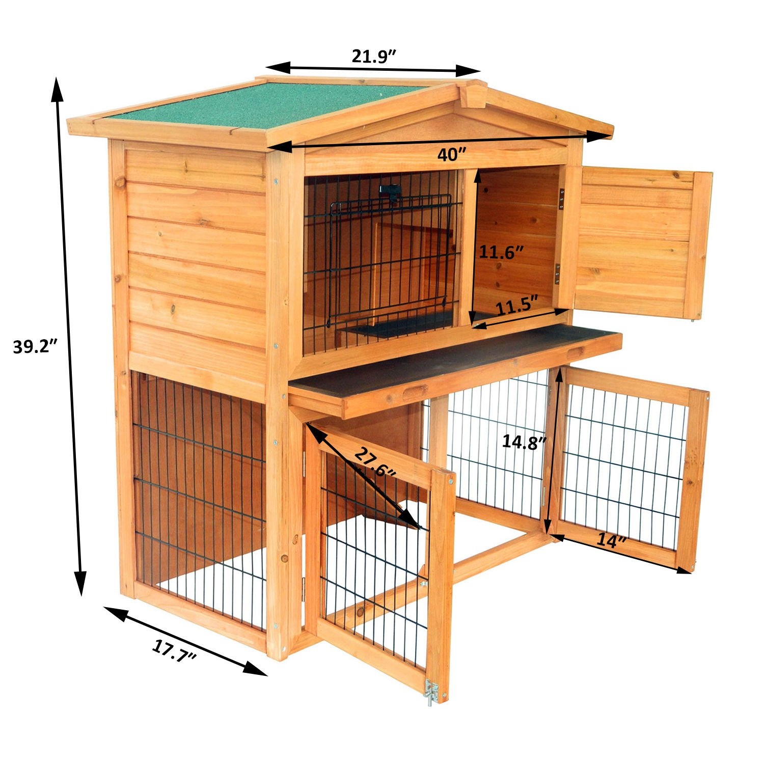 Wooden Rabbit Hutch Small Animal House Pet Cage Chicken Coop A-Frame 40''Pet Holds Cages Home - House Deals by House Deals (Image #2)