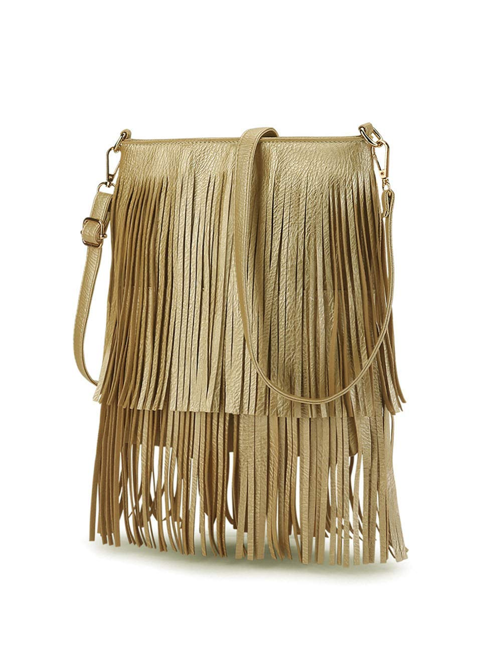 ZGYQGOO Fringed PU Leather Tote Shoulder Bag Casual Messenger Bag Simple Women's Multifunction Travel Dating Women's Bag by ZGYQGOO