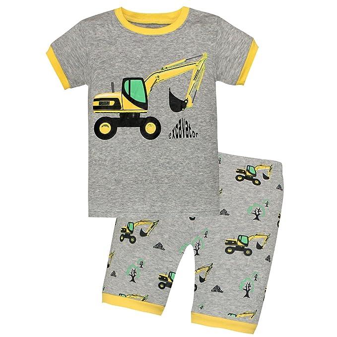 bea9fe0c1 Amazon.com  AMGLISE Kids Little Boys Motorcycle Short Pajamas 2 ...