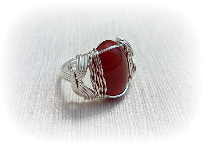 Amazon.com: Carnelian Cabochon Wire Wrapped Sterling Silver Ring ...