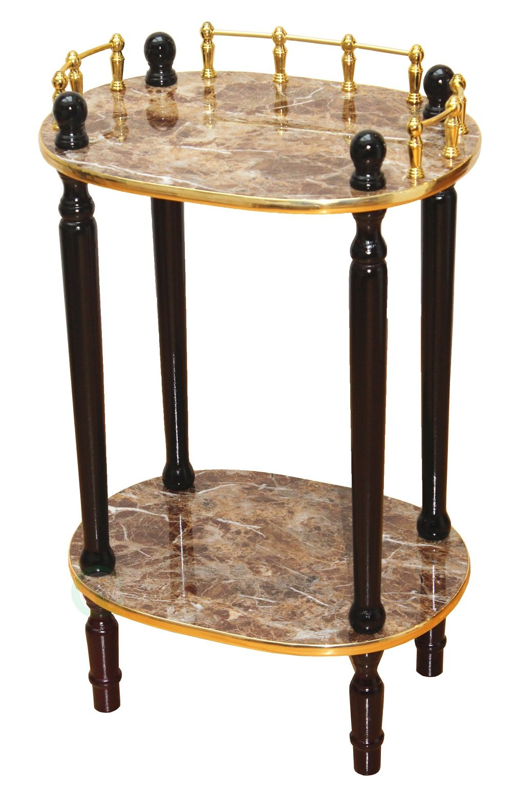 Uniquewise(TM) 2-Tiered Telephone Table, Gold Marble and Cherry Finish (Gold Marble) by Uniquewise