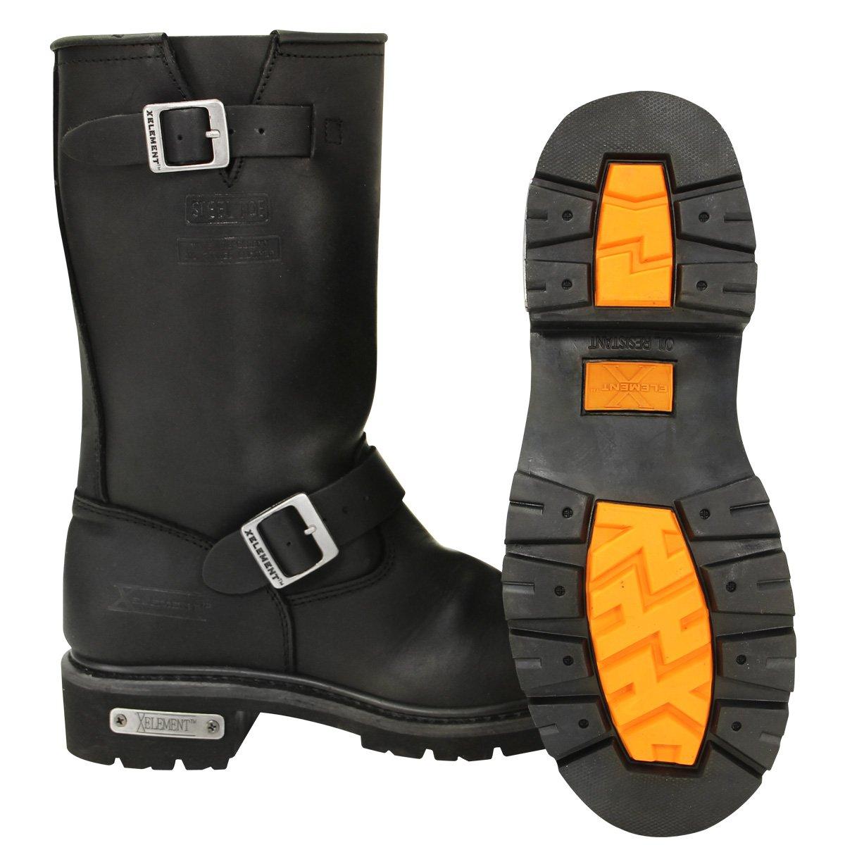 74ff62ea5bc Amazon.com: Xelement 1445 Mens Black Steel Toe Motorcycle Engineer ...