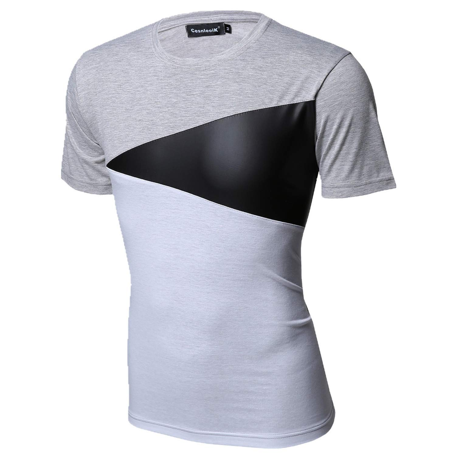 Mao YiE M XXL Pu Leather T Shirt Men Splice Short Sleeve T Shirt Fashion Cotton Casual O Neck Hip Hop Mens Tops Tee