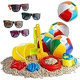 beach toys for older kids, beach toys for boys and girls, beach toy w beach balls, sun glasses,