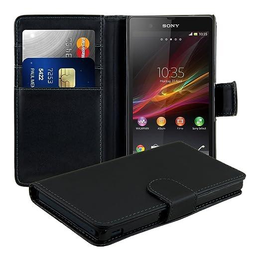 kwmobile Wallet Case Hülle für Sony Xperia Z - Cover Flip Tasche mit Kartenfach in Schwarz