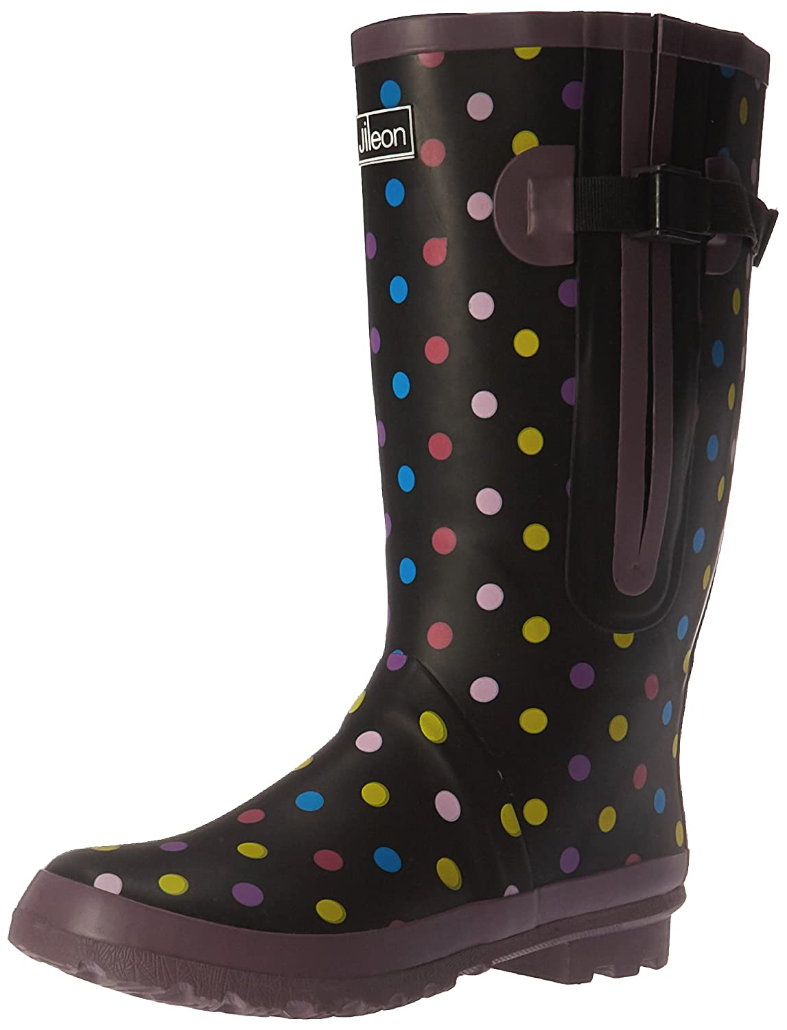 Extra Wide Calf Spotty Rain Boots for Women, fit up to 21 inch calf, Knee High Waterproof