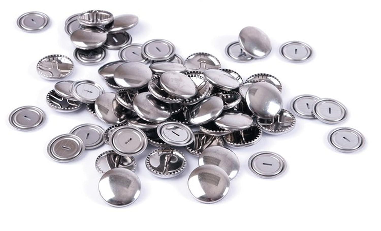 Self Cover Buttons Metal Top 15mm Hemline