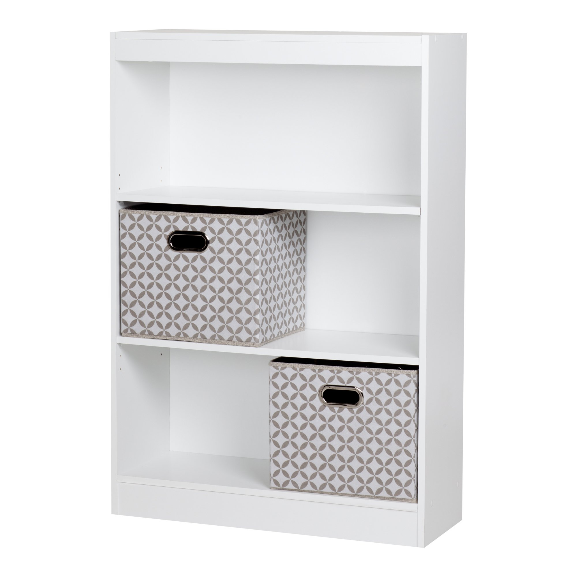 South Shore Axess 3-Shelf Bookcase with 2 Fabric Storage Baskets, Pure White by South Shore (Image #1)