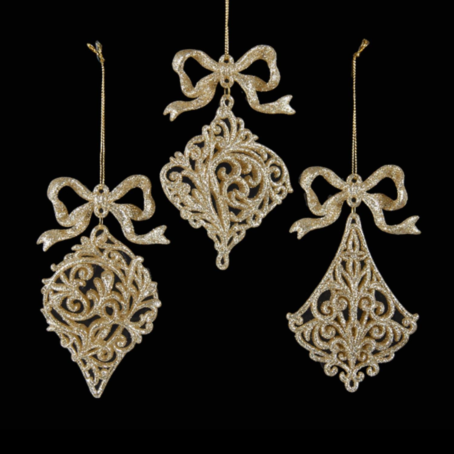 Pack of 24 Platinum Glitter Drenched Filigree Onion, Drop and Pendant Bow Accented Finial Christmas Ornaments 5''