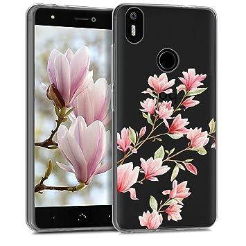 kwmobile Funda para bq Aquaris X/X Pro - Carcasa de TPU para móvil y diseño de Magnolias en Rosa Claro/Blanco/Transparente