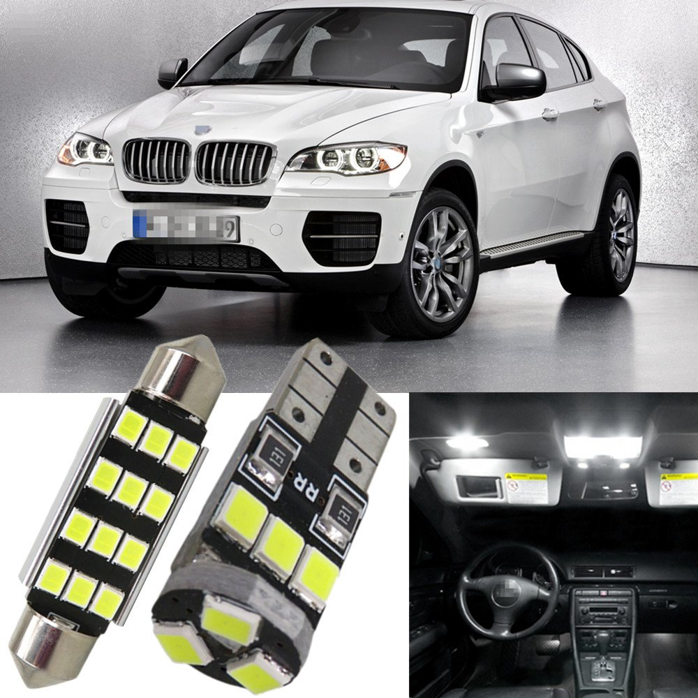 WLJH 20pcs Ice Blue Canbus NO Error Car Auto Dome Vanity Puddle Footwell Trunk Light Led Interior Light Kit for BMW X5 E70 2007-2013(T10 LED Bulbs+41mm Festoon LED Bulbs)