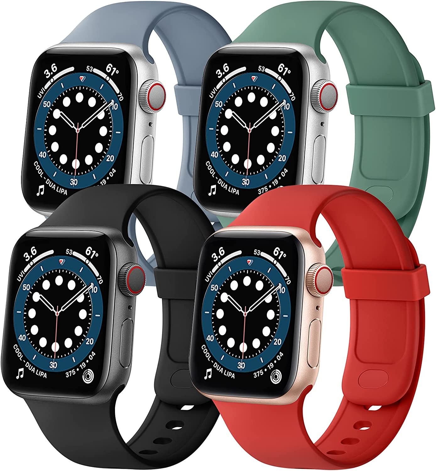 SVISVIPA Sport Bands Compatible with Apple Watch Bands 42mm 44mm, Soft Silicone Wristbands Women Men Replacement Strap for iWatch Series SE/6/5/4/3/2/1,Pine Green/Lavender Gray/Black/Red