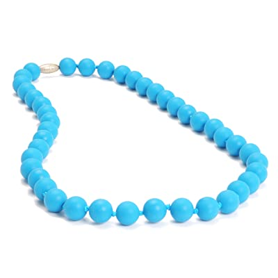 Chewbeads Jane Teething Necklace (Deep Sea Blue) - Original Fashionable Infant Teething Jewelry for Mom. 100% Medical Grade Silicone Safe for Teething Babies and Toddlers. BPA Free : Baby Teether Toys : Baby