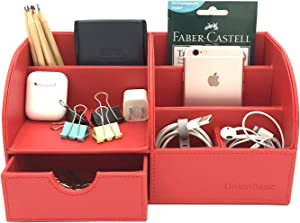 UnionBasic Multifunctional PU Leather Office Desk Organizer Business Card/Pen/Pencil/Mobile Phone/Stationery Holder Storage Box (Red)